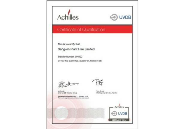 Achilles UVDB Certificate