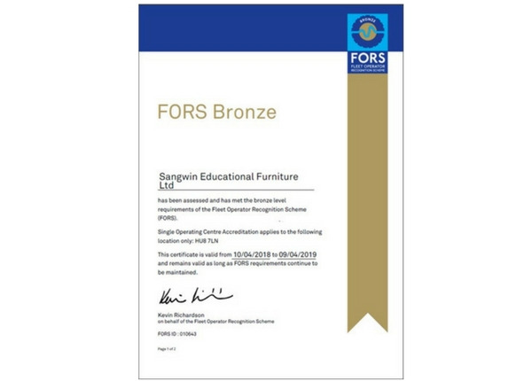 Sangwin Educational Furniture Achieve FORS Bronze Accreditation