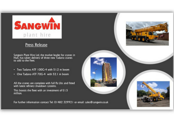 Sangwin Plant Hire Invest in 3 NEW Cranes